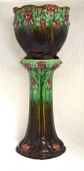Art Nouveau Weller Majolica Jardiniere With Stand Lot 122006