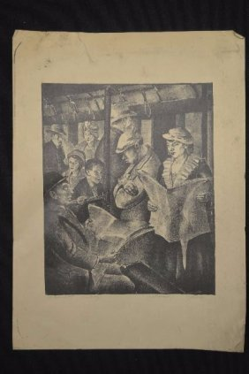 Subway Lithograph By Carl Pickhardt Pencil Signed,