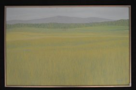 Large Canvas Of Meadows And Mountains By R. A. Newton