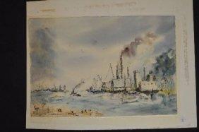 Signed Van Baarlewatercolor Of Harbor Scene Signed Van