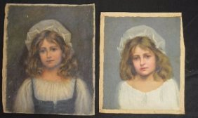 2 Nineteenth Century Portraits Of A Girl Signed E.