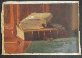 "Still Life With Book And Glasses By E. Fullick 15"" X"