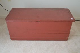 19th Century Lift Top 6 Board Blanket Chest In Red