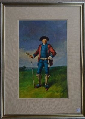 Oil Painting Of Victorian Golfers, By Victor Garrido.