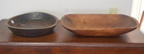 Shaker Trencher And 19th Century Carved Wood Tray