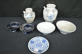 7 Pieces Chinese Blue And White Pottery And Porcelain