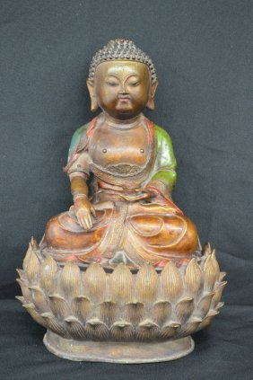 "Painted Bronze Seated Buddha On Lotus Flower 13"" X 9"""