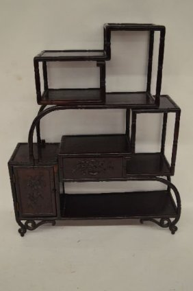 """Chinese Lacquered Bamboo Form Display Cabinet 36"""" X"""