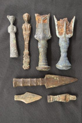 """7 Ancient Bronze Implements And Figures 7"""" And Smaller"""
