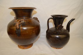 "2 Brown Glazed Stoneware Vases 9"" And Smaller"