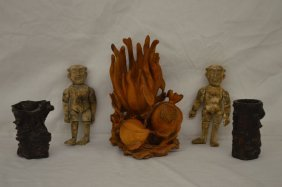 Boxwood Sculpture, 2 Burlwood Vases And 2 Carved