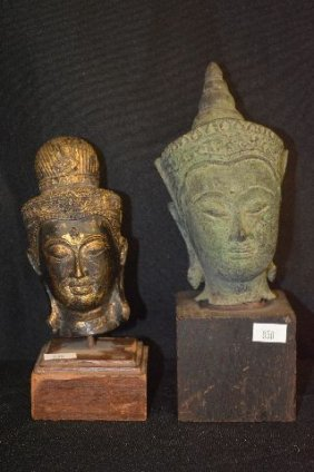 "2 Early Thai Bronze Buddha Heads On Plinths, 9"" And"