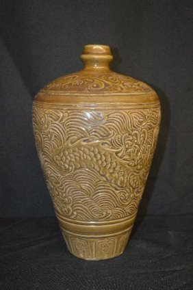 Early Chinese Jar W/ Incised Dragon Decoration And
