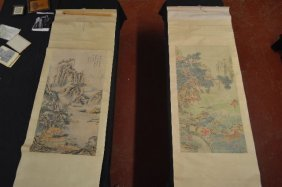 2 Scrolls Of Chinese Watercolor Painting , One