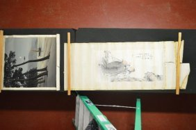 2 Scrolls Of Chinese Watercolor Painting And One