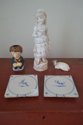 5 Pieces Early Porcelain Delft, Etc