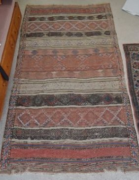 "Large Antique Persian Rug 114"" X 63"""