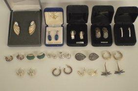 15 Pr. Sterling Silver Earrings Including Amethyst,