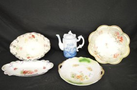 5 Pieces Antique Porcelain Includes Early Delft Teapot