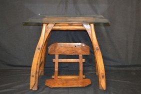 Chinese Hardwood Saddle Converted To Table