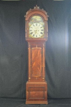 18th Century Dutch Tall Case Clock With Scenic Painted