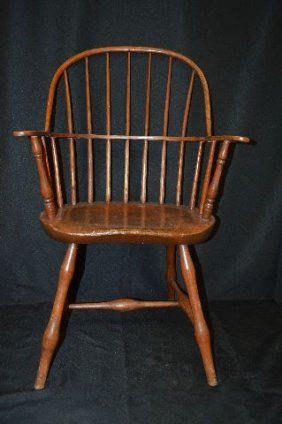 19th Century Plank Seat Windsor Arm Chair