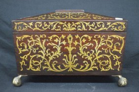 19th Century Brass Inlaid Mahogany Tea Caddy