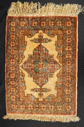 Small Antique Silk Persian Prayer Rug