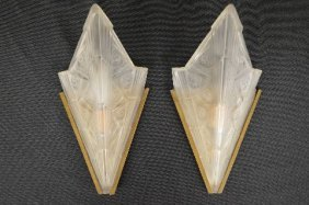 Pair Of 1920s Art Deco Lalique Wall Sconces (unsigned)