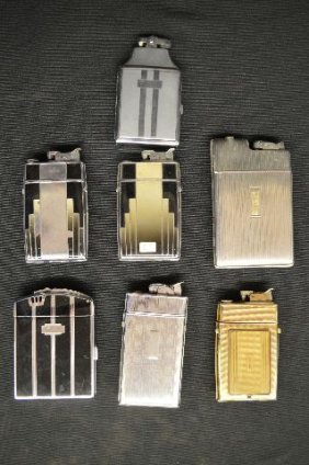 Seven Vintage Ronson Art Deco Cigarette Case Lighters