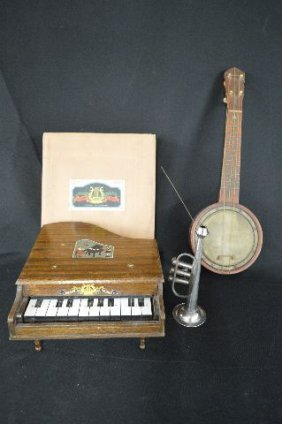 Vintage Childs Grand Piano , Trumpet And Banjo