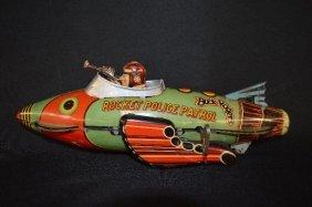 Buck Rogers Spaceship Rare Tin Lithograph Toy Set
