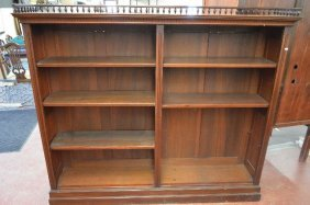 Antique Galleried Mahogany Bookcase With Art Nouveau