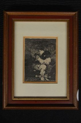 """Fransico Goya Etching """"the Prisioner"""", With Provenance;"""