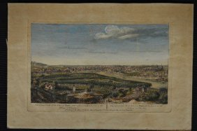 Late 18th Century Hand Colored Engraving View Of Paris,