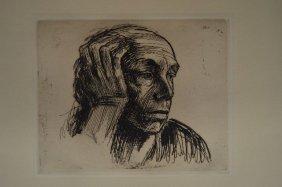 "Original Etching By Kathe Kollewitz ""self Portrait""."