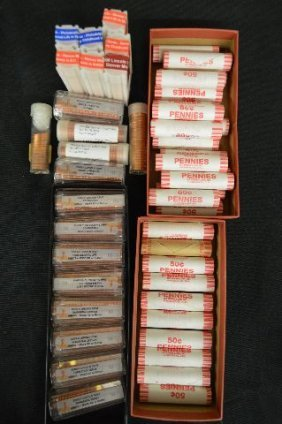 46 Rolls Of Mint Uncirculated Lincoln Cents. Various