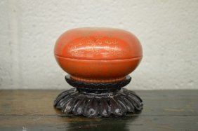 Small Chinese Covered Famille Rose Dish With Stand