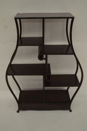 Delicately Carved Dark Carved Chinese Hardwood 5 Tier