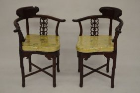 Pair Of Carved Dark Chinese Hardwood Corner Chairs With