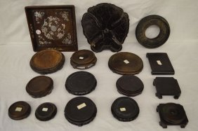 Grouping Of 16 Antique Carved Hardwood Chinese Stands