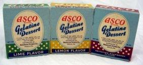 3 Vintage Nos Boxes Asco Gelatine