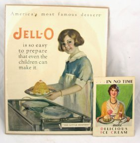 Vintage Jell-O Advertising Sign & Recipe Book
