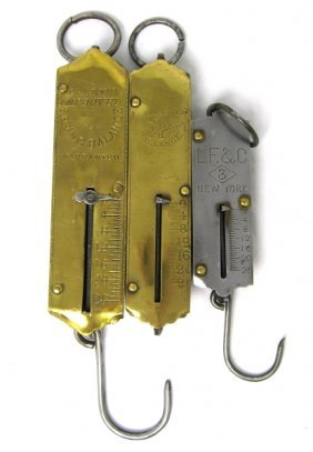 3 Early 25lb Hanging Spring Scales LF&C Frary