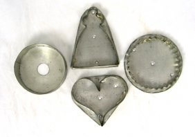 4 19th Cent PA Tin Cookie Cutters Heart Angel