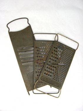 3 Early 1900's Tin Food Graters