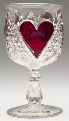 HEART WITH THUMBPRINT - RUBY STAINED GOBLET. 5 7/8""