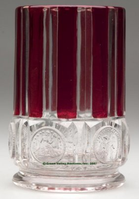 U. S. COIN - RUBY STAINED SPOON HOLDER, Rim And Alt