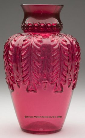 NORTHWOOD'S NO. 263 / LEAF UMBRELLA VASE, Ruby/cran