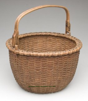 MID-ATLANTIC WHITE OAK SPLINT BAIL-HANDLE BASKET,